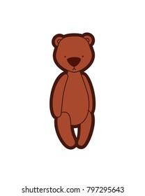Vector teddy bear. Sad plush toy. Illustration isolated on white background