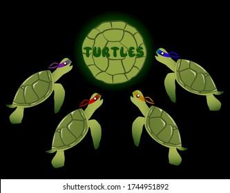 Vector Teenage Mutant Ninja Turtles characters in cartoon style.