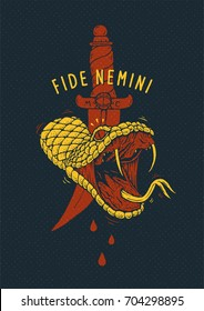 Vector tee-shirt print with a cut off snake head and latin proverb Fide Nemini, Trust Nobody. Angry snake head with open mouth, tongue and sticking fangs.