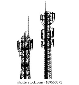 vector telecommunications tower with different antenna isolated on white