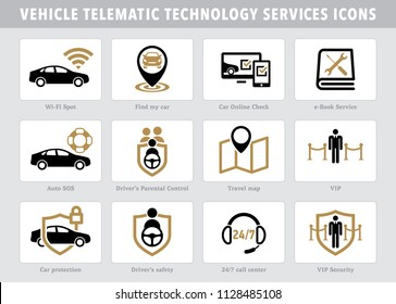 Vector telematic technology vehicle device services icons
