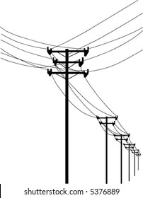 vector -  telephone poles and wires