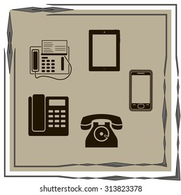Vector telephone sets isolated