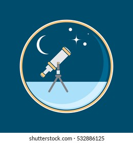 A vector telescope gazes up to a starry night sky in this round badge design.