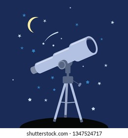 vector telescope icon. astronomy instrument for science discovery. flat symbol of telescope to watch stars.