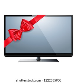 Vector Television with Red Bow isolated on white background