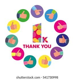 Vector template 1K Thanks subscribers greetings colorful figures Like