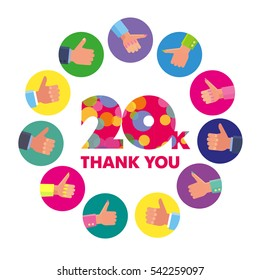 Vector template 20K Thanks subscribers greetings colorful figures Like