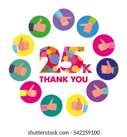 Vector template 25K Thanks subscribers greetings colorful figures Like