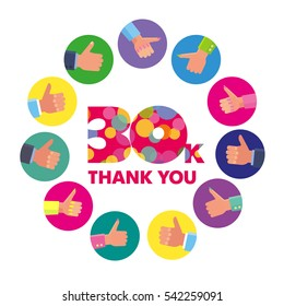 Vector template 30K Thanks subscribers greetings colorful figures Like