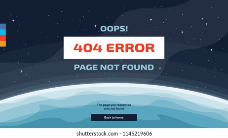 Vector template of 404 error page not found in space with earth and stars. Link to a non-existent page.