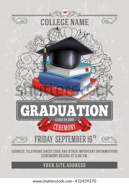 Vector Template Announcement Invitation Graduation Ceremony Stock