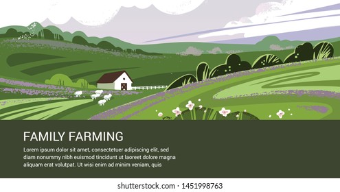 Vector template of a banner or first screen for a landing page with space for text, a call-to-action button and an illustration of a countryside farm with agricultural equipment.