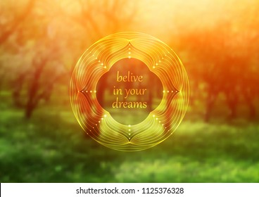 "Vector template of banner with inspirational phrase, horizontal format; Spiritual sacred geometry; ""Flower of life"" and lotus on beauty blurred background with forest; Yoga, meditation and relax."
