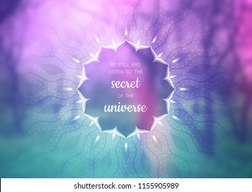 Vector template of banner with inspirational phrase, horizontal format; Spiritual sacred geometry; Mandala and lotus on beauty blurred background with forest; Yoga, meditation and relax.
