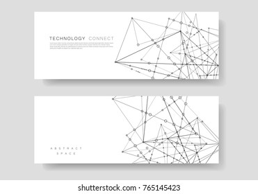Vector template banner network technology and medical background. Polygonal space design with connecting dots and lines.