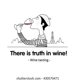 Vector template for banner on wine tasting theme. With open path line.