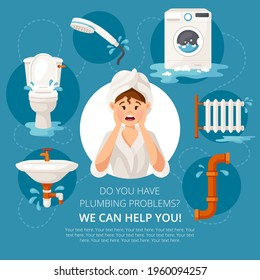 Vector template of banner for plumbing services in cartoon style. Printed material for design brochures, flyers, banners, cards and others.