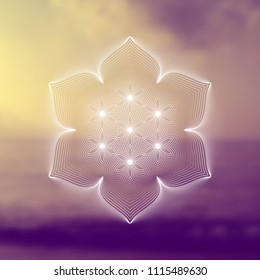 "Vector template of banner; Spiritual sacred geometry; ""Flower of life"" and lotus on psychedelic natural photographic background; Yoga, meditation and relax."
