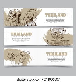 Vector template banners. Hand drawn illustrations of Thailand. abstract background