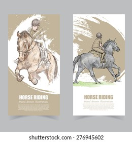 Vector template banners. illustrations of Horse Riding.