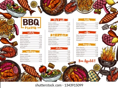 Vector template of bbq, grill, barbecue and meat menu. Sketch hand drawn illustration. Colorful background