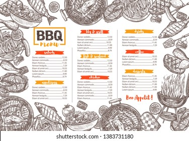 Vector template of bbq, grill, barbecue and meat menu. Sketch hand drawn illustration. Black and white background