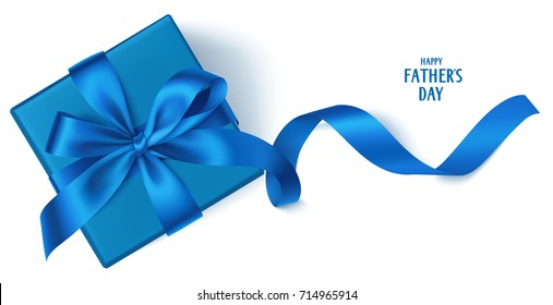 Vector template with beautiful decorative gift box, blue bow and long ribbon isolated on white. Happy Father's Day background
