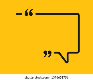 Vector template blank rectangle quote. Speech box with bracket. Empty frame for messages. Business card template information text message. Quote text form. Background for motivation inspiration.