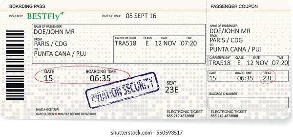 Vector template of a boarding pass in pastel color
