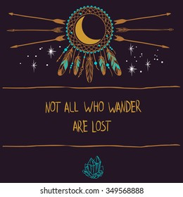 Vector template in bohemian style. Dream catcher,moon and arrows. Invitation card, book or cd cover, t-shirt design