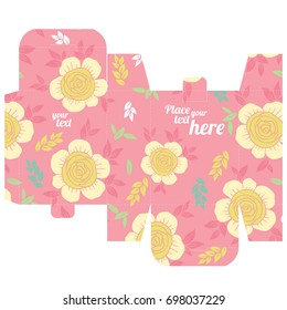 Vector template box with background of flowers