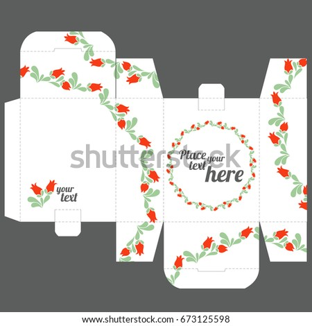 Vector template box with background of roses flowers