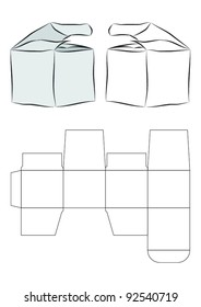 Vector template of a box (needs glue to assemble)