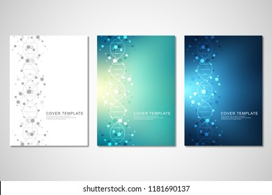 Vector template for brochure or cover with molecular structure background and connected lines and dots. Medicine, science and digital technology concept