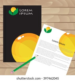 Vector template for brochures, covers, flyers or business reports. Black and orange.