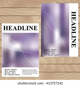 Vector template for brochures, covers, flyers or business reports. Lilac background blur. DNA. Molecule.