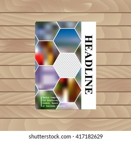 Vector template for brochures, covers, flyers or business reports. Abstract colorful background of hexagons. Place for your photo, logo, illustration.