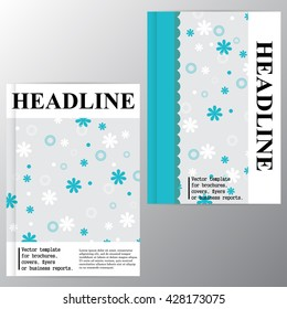 Vector template for brochures, covers, flyers or business reports. Background of daisies and lace. Aquamarine.