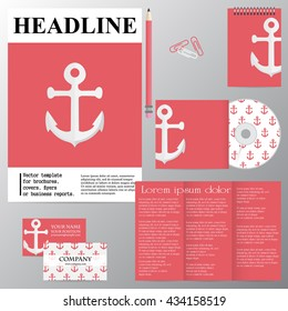 Vector template for brochures, covers, flyers or business reports. Marine theme. Anchor on a red background.