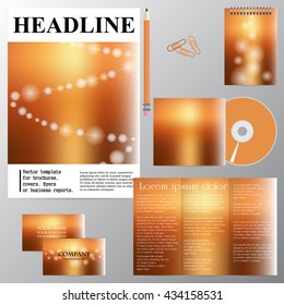 Vector template for brochures, covers, flyers or business reports. Blur effect. Sandy background.