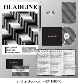 Vector template for brochures, covers, flyers or business reports. Geometric abstraction. Black lines. Squares. Curve.