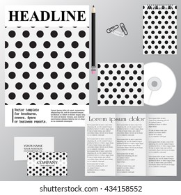 Vector template for brochures, covers, flyers or business reports. Black circles. The black dots on white background.