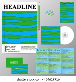 Vector template for brochures, covers, flyers or business reports. Blue and green waves. Abstraction.