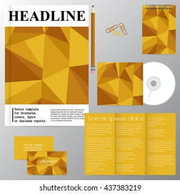 Vector template for brochures, covers, flyers or business reports. Golden mosaic. Triangles. Yellow.