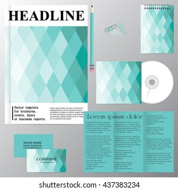 Vector template for brochures, covers, flyers or business reports. Marine theme. Rhombus. Blue tone. Figure. Mosaic.