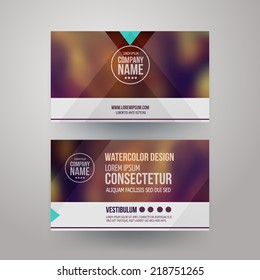 Vector template business cards with blurred abstract background