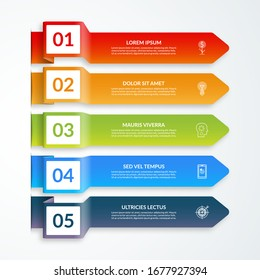 Vector template for business infographics of 5 colored paper arrows with place for numers, text and icons.