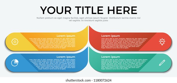 Vector template for business, presentation, workflow, web design, brochures, flyers, concept. Infographic element with 4 options, list, part, processes, or steps and icons.
