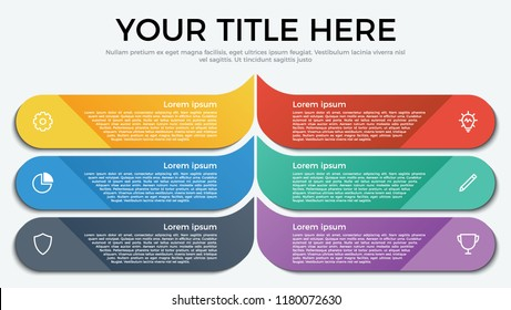 Vector template for business, presentation, workflow, web design, brochures, flyers, concept. Infographic element with 6 options, list, part, processes, or steps and icons.